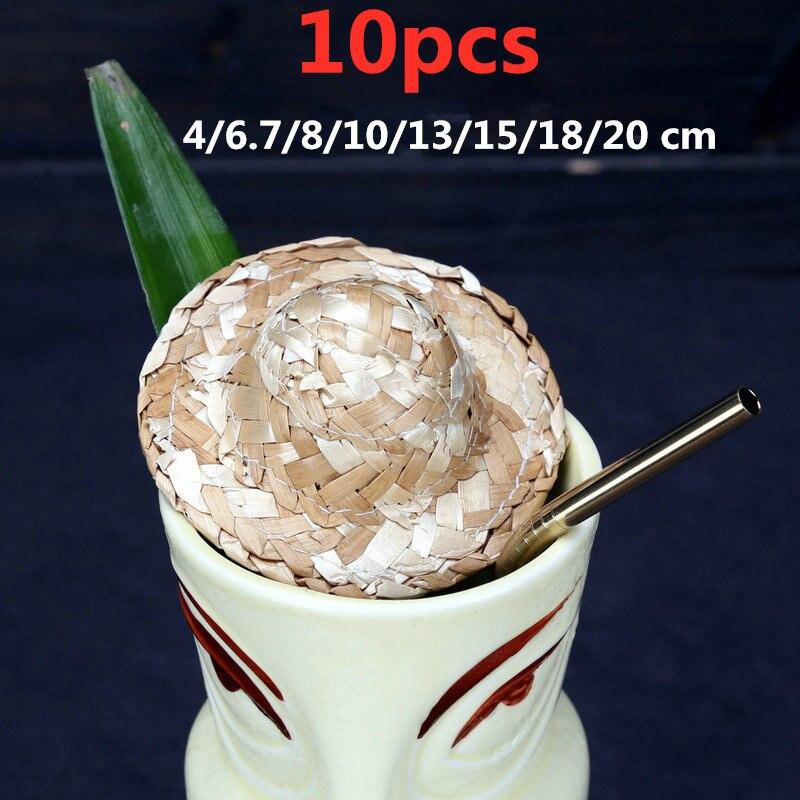 10pcs 4/6.7/8/10/13/15/18/20cm Mini Decorative Small Straw Hat For Cocktail Drink Picks Bar Tools Accessories