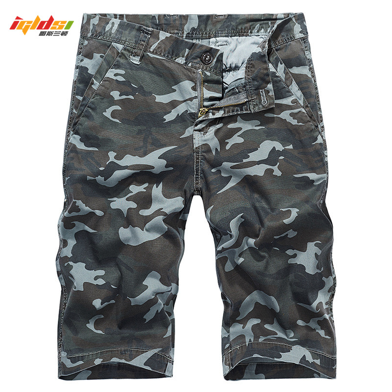 New 2018 Summer Camouflage Cargo Shorts Men Cotton Military Army Tactical Short Homme Camo Pockets Loose Knee Short Pants 29-38