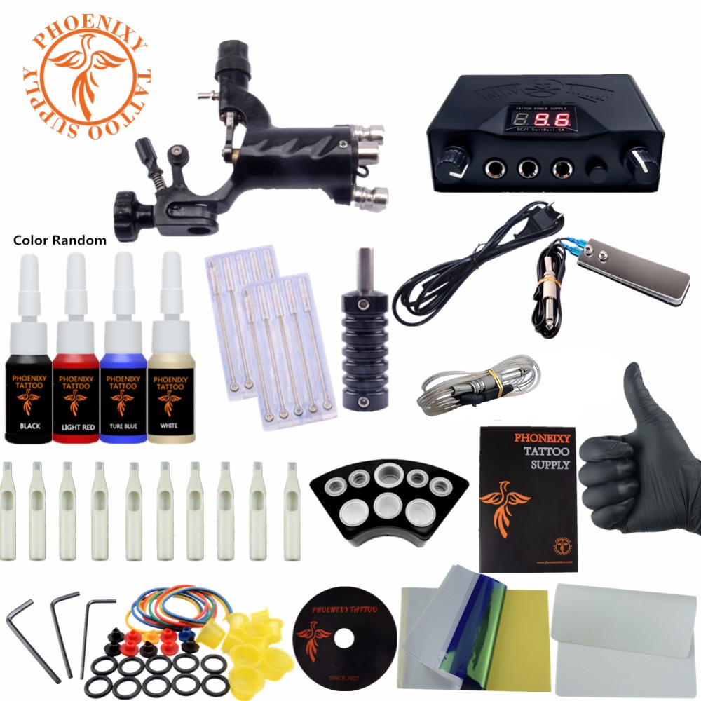 Complete Tattoo Kit One Rotary Tattoo Machine 4 Colors Ink LCD Tattoo Power Professional Tattoo Set p80 panasonic happy shopping complete air cutter torches a machine complete torch 4 meter