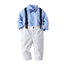 2019 Baby Boys Clothes 4pcs Clothing Sets Long Sleeve Blue Shirt Top Bow Tie White Bloomers Strap Outfits Newborn Summer Clothes