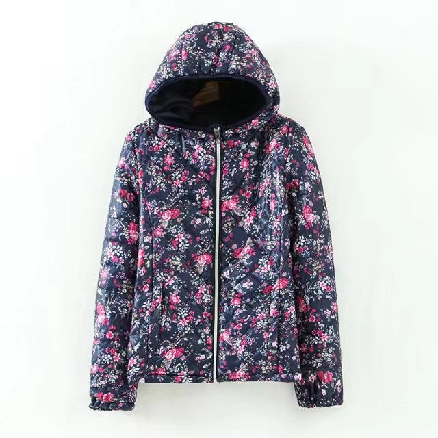 Autumn and Winter New Arrival Women Hooded Cotton Coat Outerwear, Vintage Slim Casual Floral Print Warm Cotton-padded Jacket