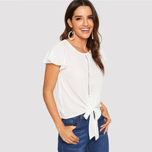Flutter Sleeve Lace Knot Front Summer Casual White Blouse