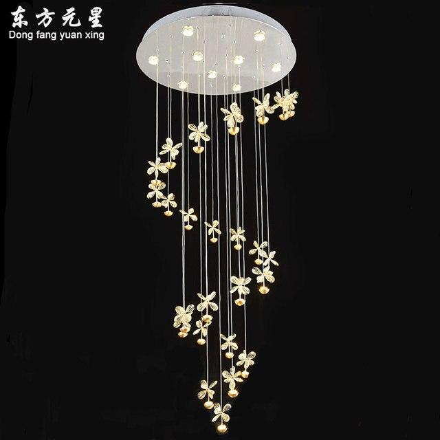 spiral stair chandelier lamp villa living room hotel lobby crystal hanging light creative led lighting decorations