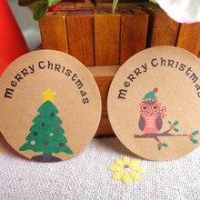 120 Pcs/lot Stickers Scrapbooking Merry Christmas Tree&Owl Round Kraft Paper Seal Label Sticker Handmade Gift