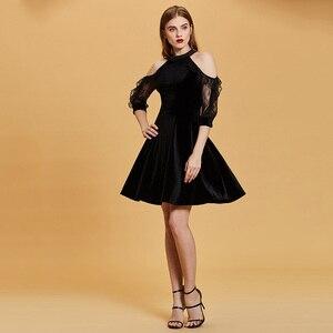 Image 4 - Dressv nero vestito da cocktail a buon mercato scoop neck una linea senza maniche zipper up abiti di laurea vestito da partito elegante vestito da cocktail di modo
