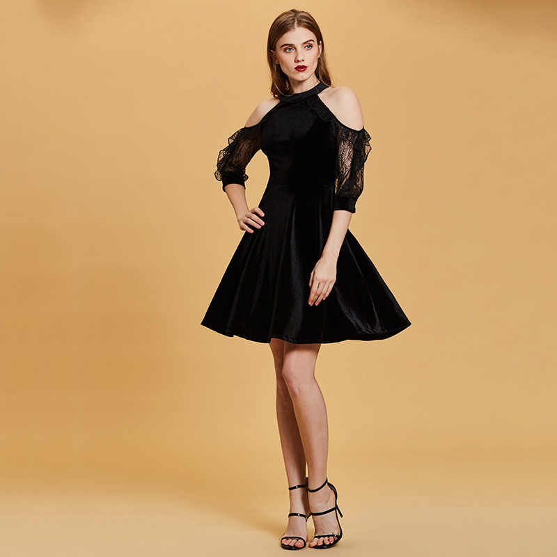 Dressv שחור שמלת קוקטייל זול סקופ צוואר קו שרוולים רוכסן עד מסיבת סיום שמלה אלגנטי אופנה קוקטייל שמלה