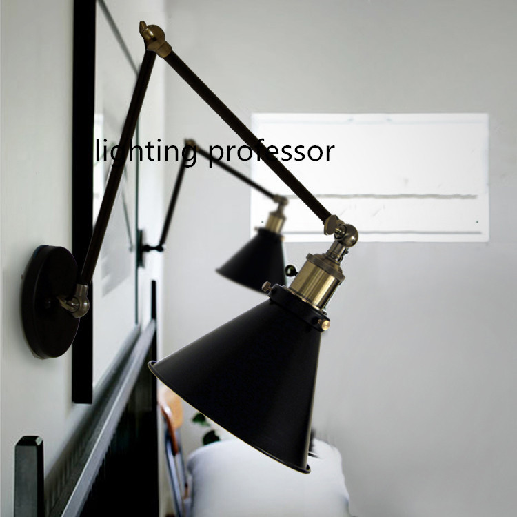 Retro two swing arm wall lamp for bedroom bedside adjustable wall retro two swing arm wall lamp for bedroom bedside adjustable wall mount swing arm lamp with gold steering head in wall lamps from lights lighting on mozeypictures Choice Image