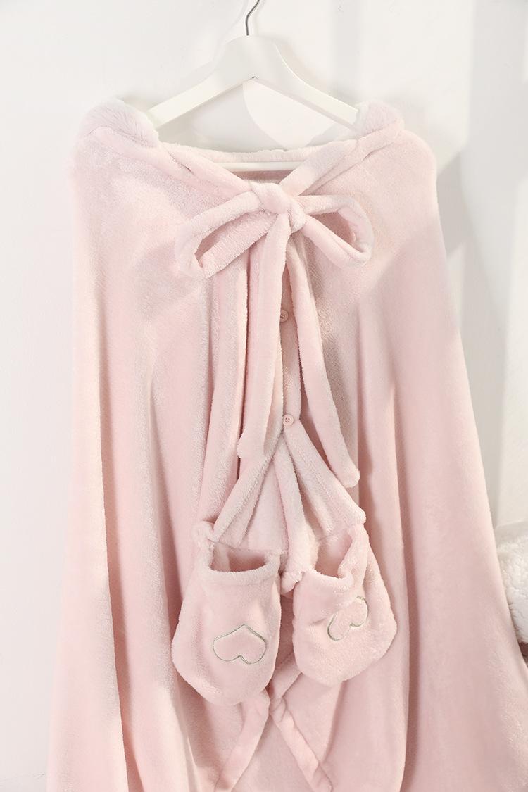 Cute Pink Comfy Blanket Sweatshirt Winter Warm Adults and Children Rabbit Ear Hooded Fleece Blanket Sleepwear Huge Bed Blankets 154