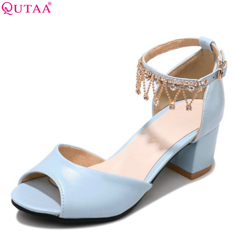 QUTAA 2018 Women Pumps Pu Leather Square High Heel Women Shoes Peep Toe Buckle Platform Casual Wedding Shoes Size 34-39 qutaa 2017 silver women pumps thin high heel peep toe slip on platform sexy summer pu leather ladies wedding shoes size 34 43