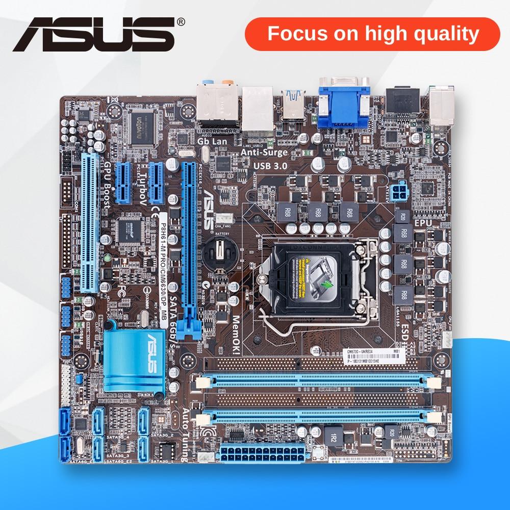 Asus P8H61-M PRO/CM6630/DP Desktop Motherboard P8H61-M PRO DP H61 Socket LGA 1155 i3 i5 i7 DDR3 16G uATX asus asus original desktop motherboard p8h61 m lx plus ddr3 lga1155 ram 16g desktop mainboard