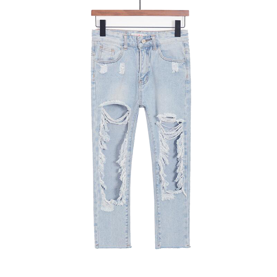 Tengo Hole Jeans Casual Loose Women Slim Jeans