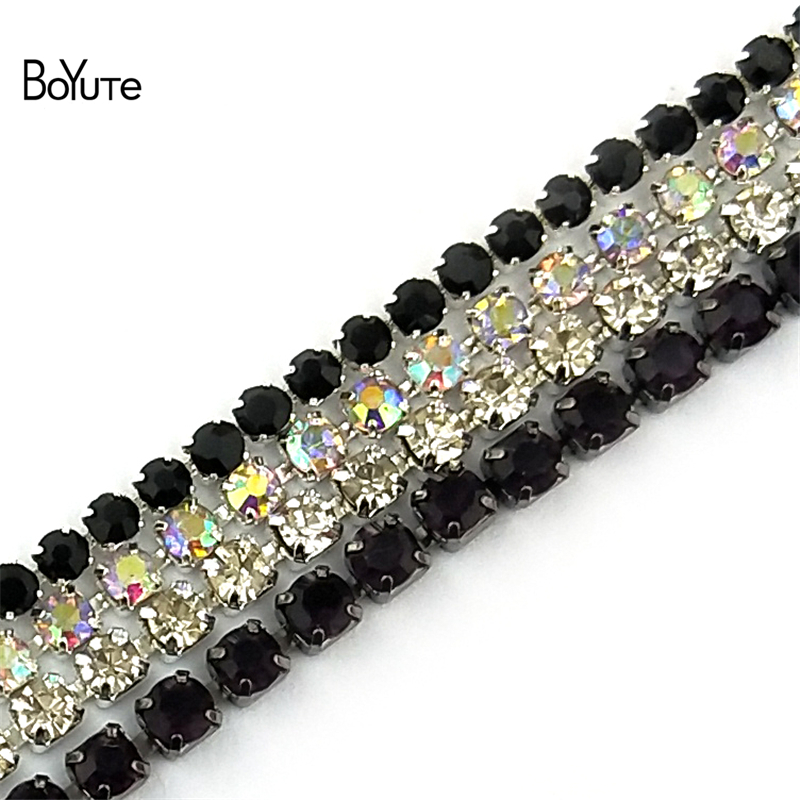 BoYuTe (10 Meters/Lot) 2.0MM 2.5MM 2.8MM 3MM Crystal Rhinestone Chain Diy Jewelry Findings Components 24 Colors