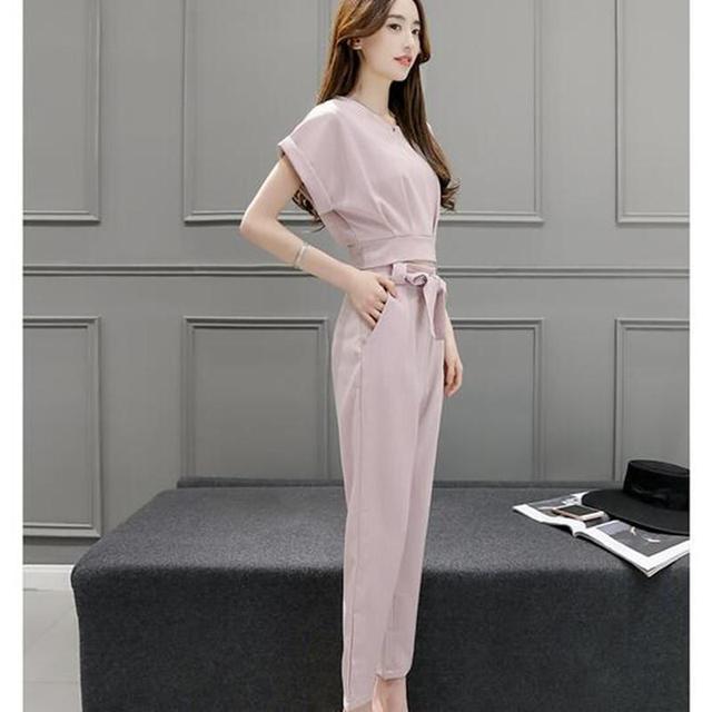 Mulheres two-piece ternos moda lápis calças + t-shirt de manga curta verão new coréia editionslim roupas Femininas definidas
