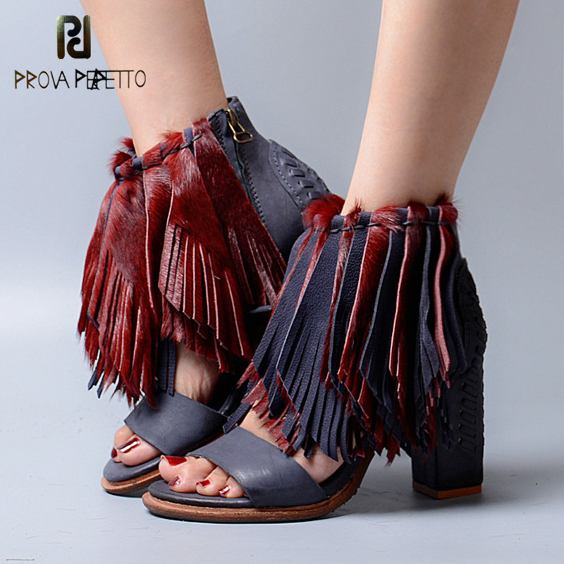 Prova Perfetto 2017 Mature Design Sheepskin Genuine Leather Patchwork Tassels Woman High Heel Sandals Peep Toe Chunky Heel Shoes ladylike women s sandals with chunky heel and beading design