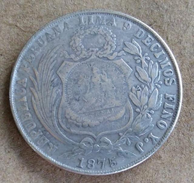 1875 Peru 1 Sol Copy Silver Coin