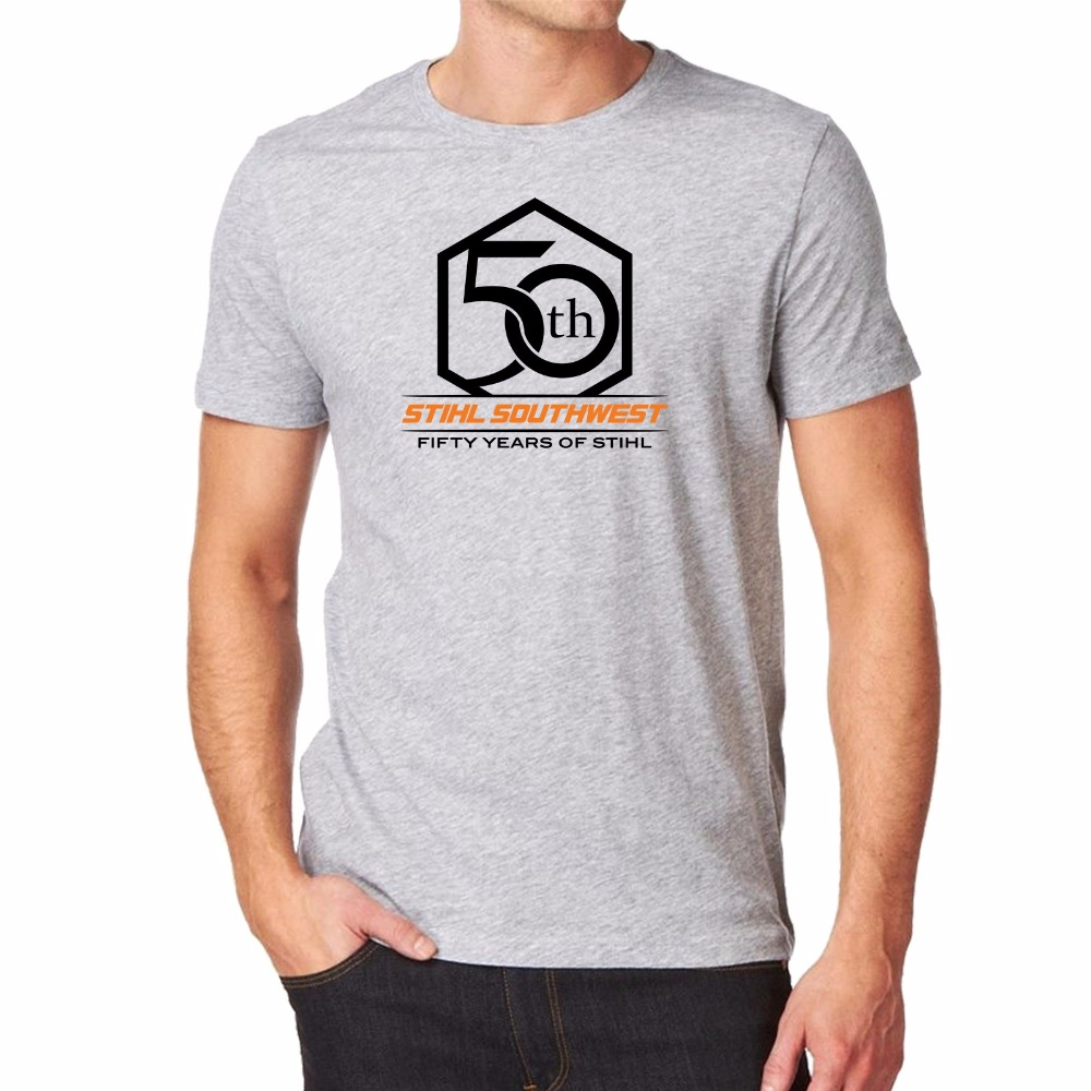 Mens Stihl Southwest 50Th Logo Grey Tee Shirt Casual Short Sleeves Cotton Bottoming T-Shirt Tops Clothing