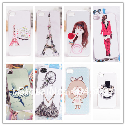 bling cell phone case for iphone 4 4s crystal clear rhinestone cute Hard Back Cover shell mobile case 100pcs DHL free shipping