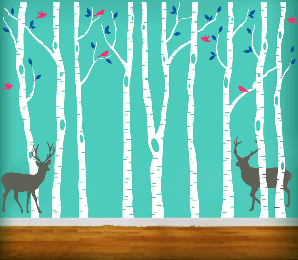 Vinyl tree wall decals 260x360cm reindeer tree forest birds wall vinyl tree wall decals 260x360cm reindeer tree forest birds wall stickers decal nursery decor wall stickers for kids room d661 in wall stickers from home amipublicfo Choice Image