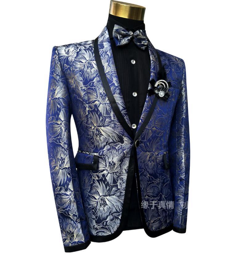 Блейзер мужские костюмы комплект со штанами мужские свадебные костюмы костюм певица звезда Стиль Танцевальная сцена Одежда Модный узор то... - 6