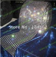 10 ярдов 18 ряда Эластичный черный Пластик база Кристалл Rhinestone сетки с отделкой SS16 4 мм ясно камни для DIY костюм аксессуары