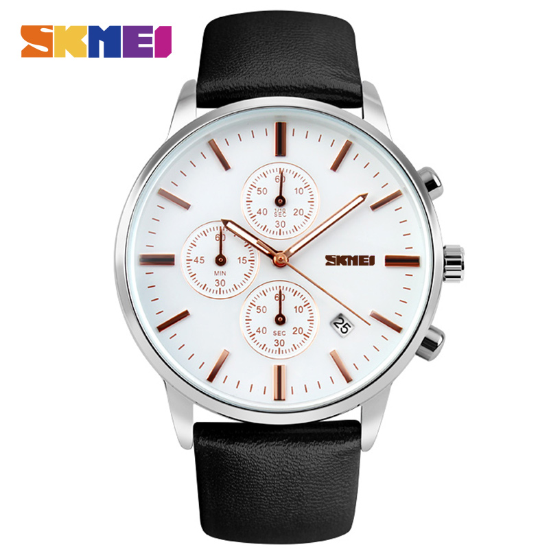 Skmei Luxury Brand Military Watches Men Quartz Analog 6 Pointer Leather Clock Man Sports Watches Army Watch Relogios Masculino skmei luxury brand military watch men quartz analog clock nylon strap clock man sports watches army relogios masculino