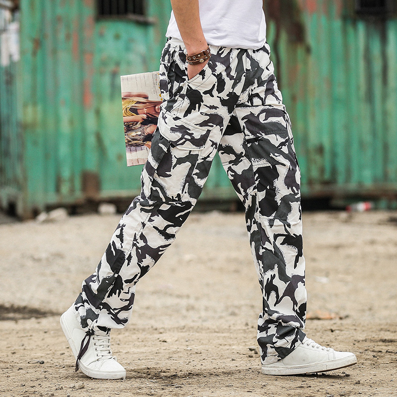M-3XL Men's Casual Military White Khaki Camouflage Cargo Combat Pants Trousers Straight Plus Size Army New Youth