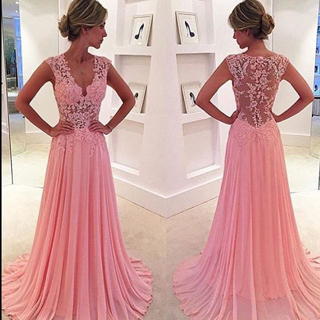 Beautiful cheap v neck top pink lace top flowy a line chiffon prom ...