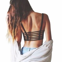 2019 Women Hollow Out Crop Tops Padded Summer Vest Beach Bralette Tank Tops Cut Out Camisole Shirt Camisoles