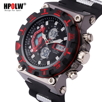 52bb6ae9bae0 LED Elektronik Saatler HPOLW Marka Moda dijital saat Erkekler Spor Şok  Analog Kuvars-İzle Erkek Relogio Masculino xfcs