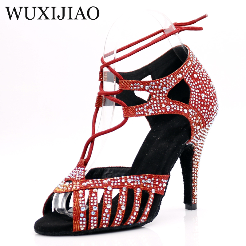 WUXIJIAONew Red And Glod Flash Cloth Salsa Dance Shoes Soft Bottom Latin Kizomba Tango Ballroom Dance Shoes Heel 6/7.5/8.5/10cm