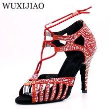 WUXIJIAONew Red and Glod Flash Cloth Salsa Dance Shoes Soft Bottom Latin Kizomba Tango Ballroom Dance Shoes Heel 6/7.5/8.5/10cm