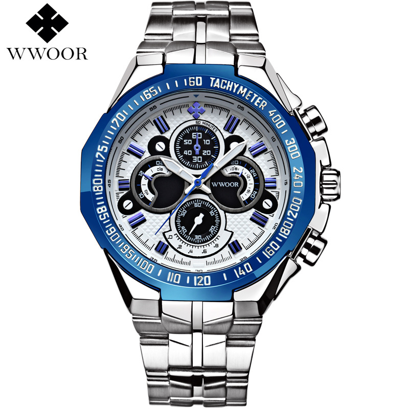 Brand Luxury Men's Watch Waterproof Stainless Steel Quartz Watches Men Casual Sport Wrist Watch Male Famous WWOOR Big Blue Clock 2016 luxury brand men business watch stainless steel band machinery sport quartz wrist watches male dress watch clock gift