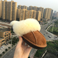 High Quality Winter Warm Home Slippers Couples Genuine Cow Leather Leisure Lamb Wool Cow Muscle Women Men Indoor Slippers AWM68