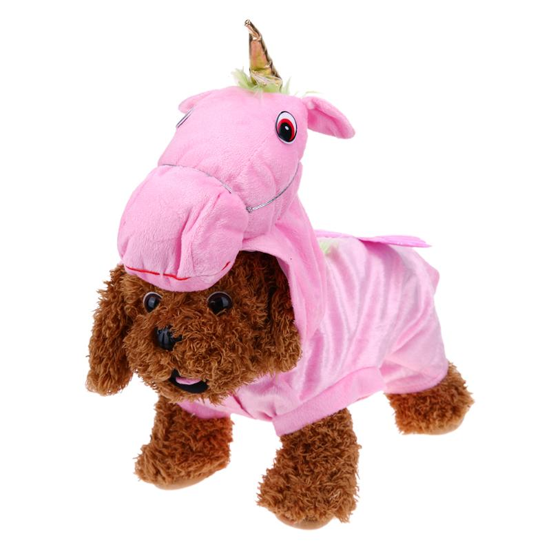 Halloween Christmas Pet Dog Clothes Lovely Unicorn Small Horse Shape Cloth Cute Pink Cat Hoodies Pets Festival Costume Supplies