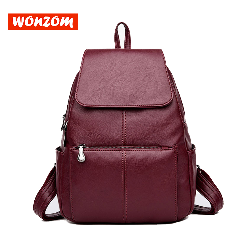 WONZOM Fashion New Large Capacity Women Backpacks High Quality Genuine Leather Soft Shoulder Bags Simple Preppy Style Girls Bags