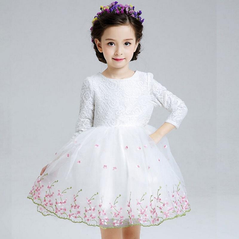 Girls Wedding Dress Spring Autumn High-Grade Lace Long-Sleeved Princess Dress Children Clothing Little Girl Birthday Party Dress