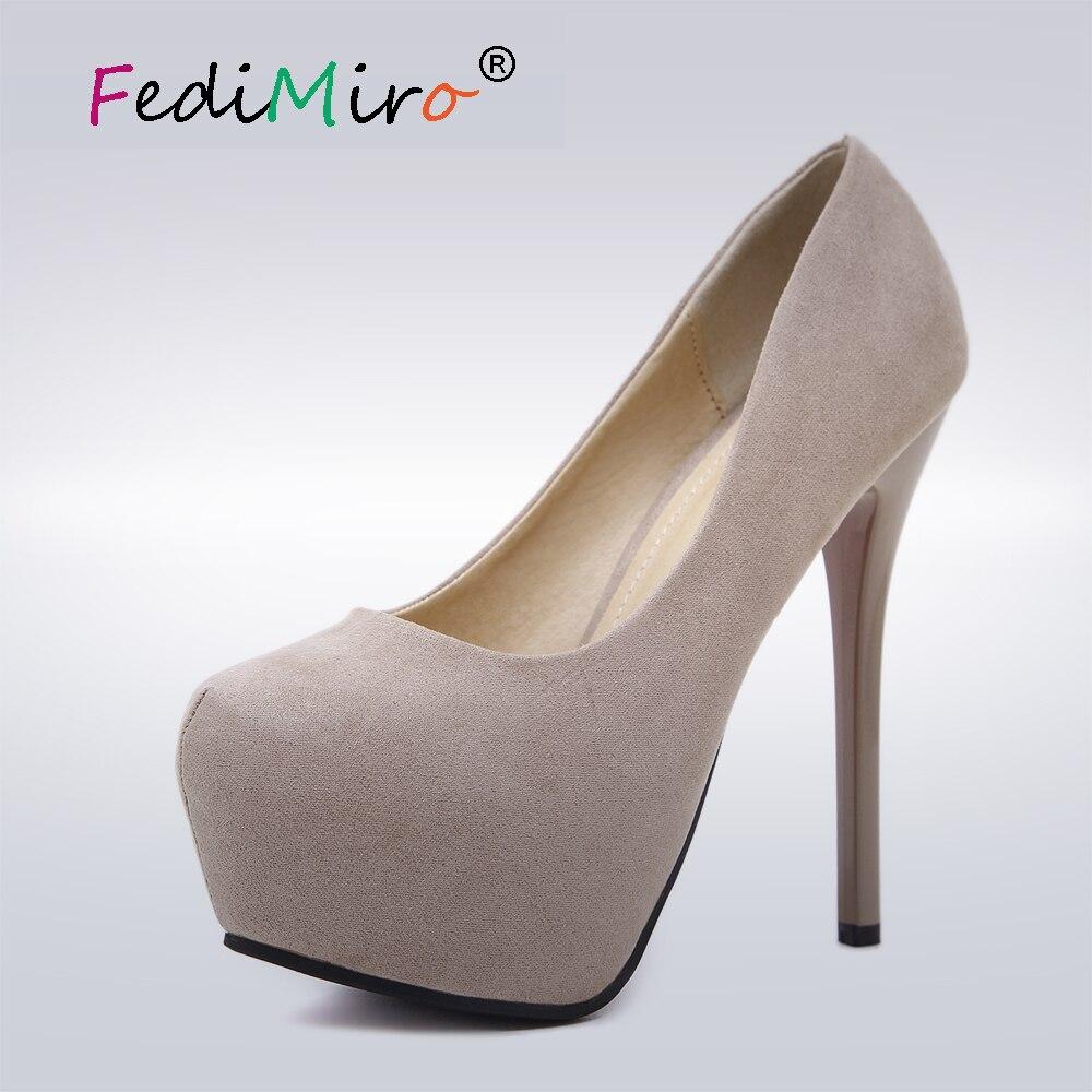 FEDIMIRO Women Classic 14 cm High heels Woman thin heels Round Toe High Heel Shoes Spring