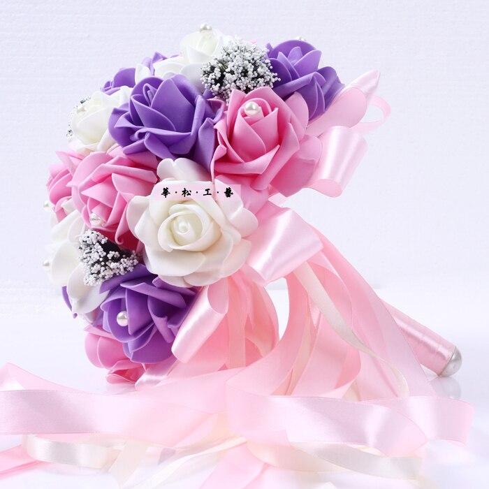 Acheter Bouquet de Main de mariage Mariées Coréens Main Fleur De Simulation De Mariage Rose Fleurs Tenant Des Fleurs De Mariage Fournitures de wedding hand fiable fournisseurs