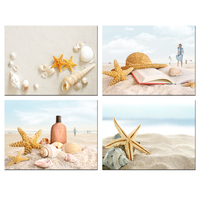 Modern Seascape Wall Art Canvas Prints Starfish&Seashells on Sand Beach Pictures Artwork Tropical Beach Summer Resort Painting
