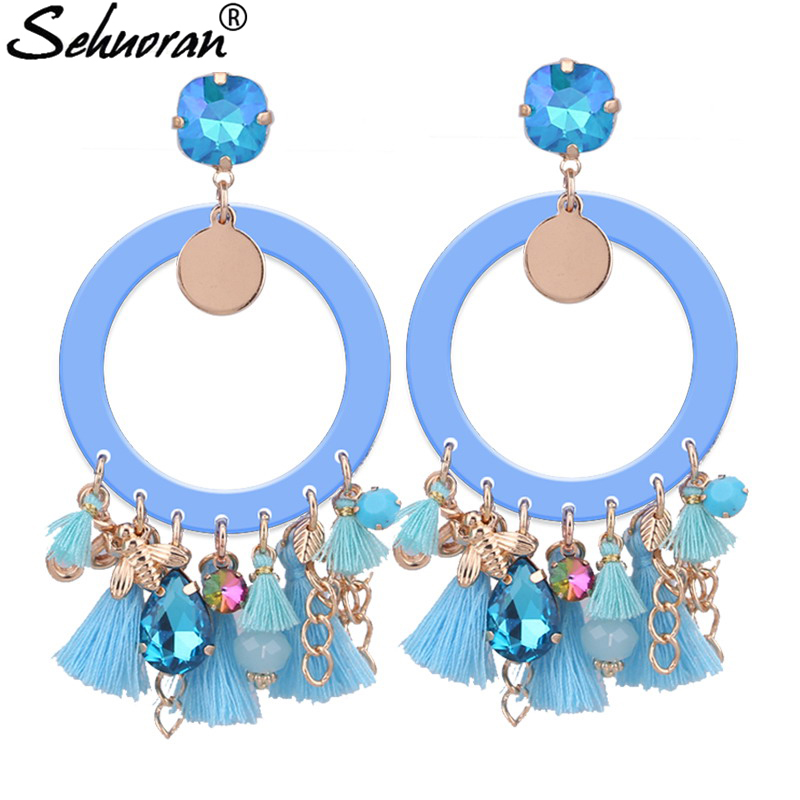 Sehuoran Brincos Oorbellen Women Boho Drop Dangle Fringe Earrings Long Ethnic Statement Tassel Earrings Jewelry Charms statement rhinestone tassel dangle earrings