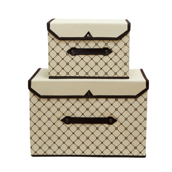 Foldable Clothes Storage Box with Handle Made of Non Woven Fabric for Home Closet