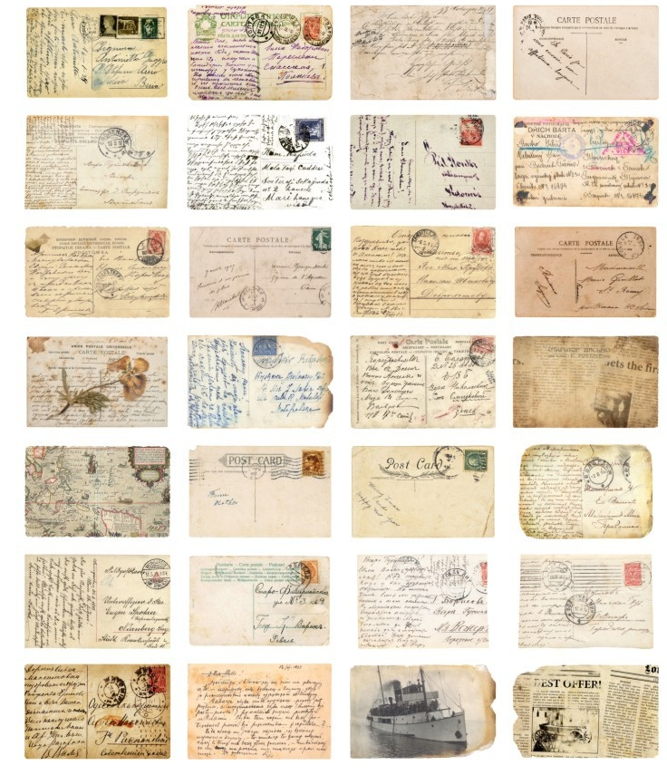 AEMX10-vintage times paper postcard(1lot=4pieces)