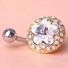 Gold Color Green Rhinestone Surgical Steel Belly Navel Ring Barbell Piercing Ring Body Piercing Summer Jewelry for Personality