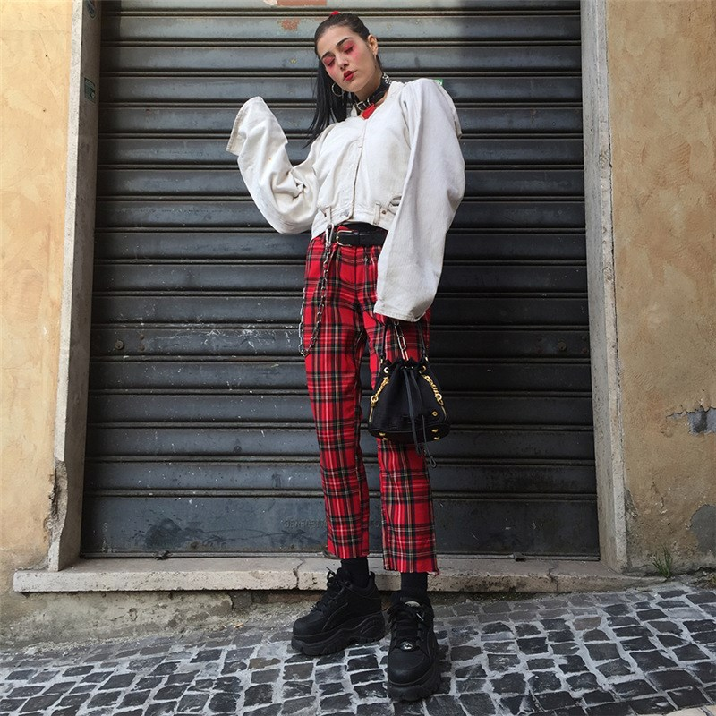 Street Straight Pant Painted Punk Checkered Pants Plaid Zipper Casual Red Plaid Harem Trousers