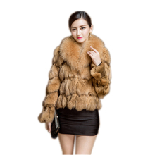 2017 winter warm  fox fur coat with big collar ladies short style Plus Size S-XXXL-4XL Overcoat large size free shipping