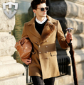 Free shipping ! autumn winter 2014 new high-end men's brand 100% pure wool coat fashion Slim Leisure woolen trench coat / S-XXL
