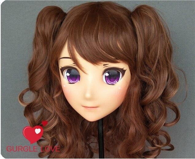 Female Sweet Girl Resin Half Head Kigurumi Mask With Bjd Eyes Cosplay Japanese Anime Role Lolita Mask Crossdress Doll Pure White And Translucent dm144 Humble