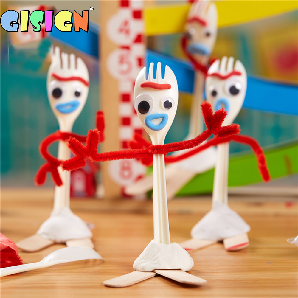 Toy Story 4 Forky Alien Cartoon Buzz Lightyear Woody Kid Craft Handmade Art DIY Forky Action Figures Toys Kid Educational Toys(China)