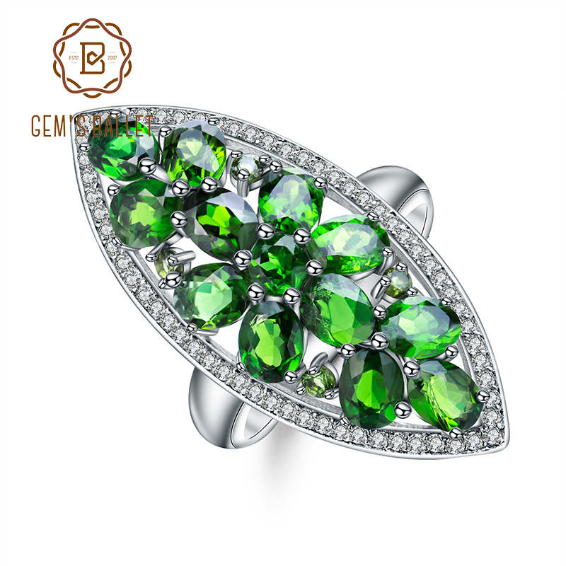 GEM'S BALLET 5.0Ct Ct Natural Chrome Diopside Cocktail Ring 925 Sterling Silver Gemstone Rings Fine Jewelry for Women