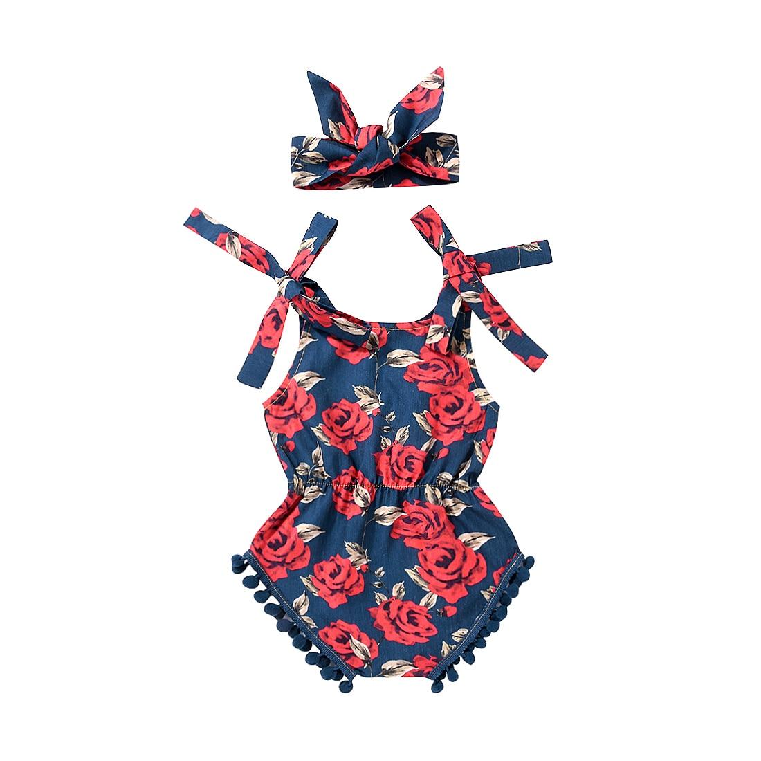 Summer Baby Girls Rose Floral Romper Jumpsuit+ Headband 2PCS Outfit Sunsuit Clothes